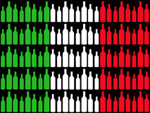 Wine bottles and Italian flag Stock Images