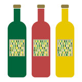 Wine Bottles with Label Stock Images