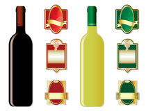 Wine bottles and labels Stock Image