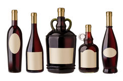 Wine bottles with labels Royalty Free Stock Photo