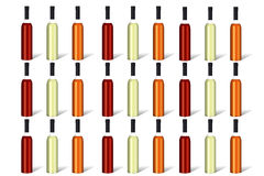 Wine bottles lined up as background Stock Photo