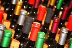 Wine Bottles boke. Lot of Wine bottles and boke stock image