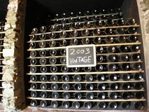 Wine bottles maturing vintage 2003 winemaking stock photos