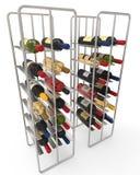 Wine Bottles in a Metal Wine Rack Stock Image