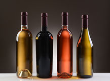 Wine Bottles With No Labels. Four Wine Bottles with no labels on a light to dark gray background. Four different wines including: Cabernet Sauvignon, Chardonnay Royalty Free Stock Images