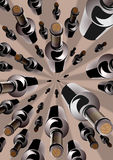 Wine bottles in an overhead converging pattern Stock Photo