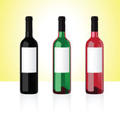 Wine bottles part 1. Three bottles of white, red and rose whine  on white background. Part 1 Royalty Free Stock Photography