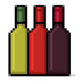 Wine bottles pixel art. Alcoholic drinks Royalty Free Stock Photography