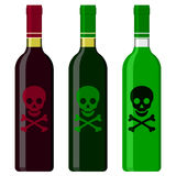 Wine bottles with poison Royalty Free Stock Photo