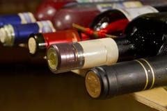 Wine Bottles on Rack. Royalty Free Stock Images