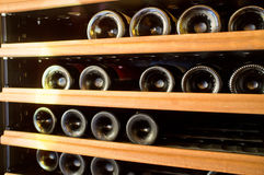 Wine Bottles rack Royalty Free Stock Images