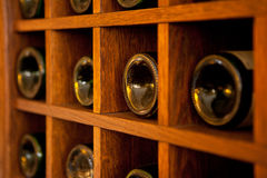 Wine Bottles rack Stock Images