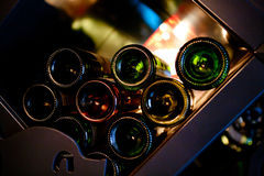 Wine Bottles rack. Wooden wine rack in the french restaurant Royalty Free Stock Photos