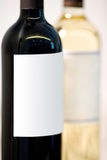 Wine bottles of red wine and white wine Stock Images