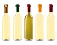 Wine bottles in row. Isolated on white background,Vector illustration Stock Photos