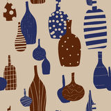 Wine bottles seamless background. With silhouettes Vector Illustration