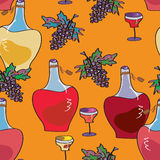 Wine bottles seamless bright pattern Royalty Free Stock Photos