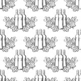 Wine bottles seamless pattern. Wine seamless pattern with hand drawn bottles and grapes leaves. Vector illustration Stock Illustration