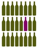 Wine bottles set. Purple bottle among green collection. Concept of uniqueness. White background Stock Photo