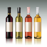 Wine bottles. Set of wine bottles with empty labels. Vector illustration stock illustration