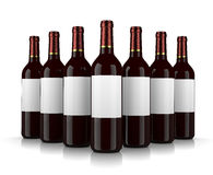 Wine Bottles. Set of Glass Wine Bottles with Blank Label on White Background Stock Photography
