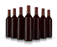Wine Bottles. Set of Glass Wine Bottles without Label on White Background Royalty Free Stock Photos