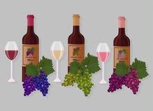Wine bottles sets Vector. White wine, rose, chardonet and grapes Stock Image