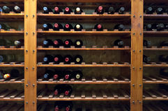 Wine Bottles on Shelf stock image