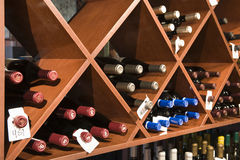 Wine Bottles In Shelves Stock Photos