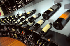 Wine bottles in shop Royalty Free Stock Photography