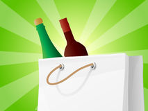 Wine Bottles In Shopping Bag Stock Photo