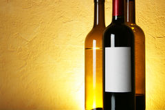 Wine bottles with space for text Stock Photos