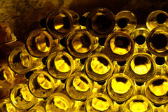 Wine bottles texture. Bottles with wine in cellar Royalty Free Stock Photo