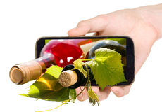 Free Wine Bottles Through Mobile Phone Stock Images - 40539764