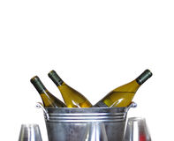 Wine Bottles in Tin Bucket Stock Images