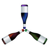 Wine bottles trio Stock Image