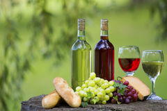 Wine Bottles. Two bottles of wine and glasses, some grapes, bread and cheese outside stock images