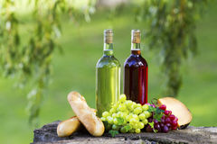Wine Bottles. Two bottles of wine, some grapes, bread and cheese outside stock photo