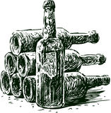 Wine bottles. Vector image of a collection of a old wine bottles Stock Photo