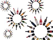 Wine bottles vortex Royalty Free Stock Images