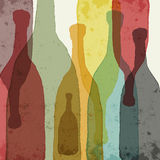 Wine bottles. Watercolor silhouettes of bottles of wine, whiskey, etc Stock Image