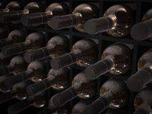 Wine bottles in wine cellar Royalty Free Stock Image