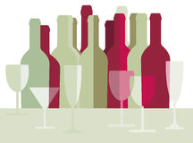 Wine bottles and wine glasses. Illustration of bottle of wine and glass Royalty Free Stock Image