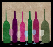 Wine Bottles and Wine Glasses Stock Photos