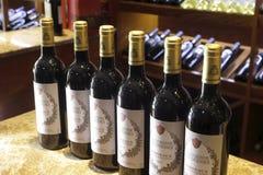 Wine in bottles in  a wine shop Stock Photo