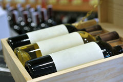 Wine in bottles in wine shop Royalty Free Stock Images