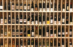 Wine bottles in wine store Royalty Free Stock Photos