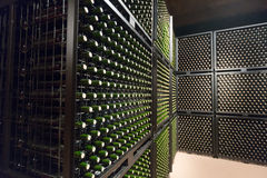 Wine  bottles in winery cellar Royalty Free Stock Image