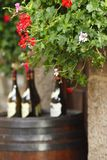 Wine bottles on wodden barrel Royalty Free Stock Image