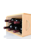 Wine Bottles in Wood Crate on Side Stock Photo